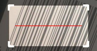 Screenshot, der den Barcode-Scanner in Aktion zeigt